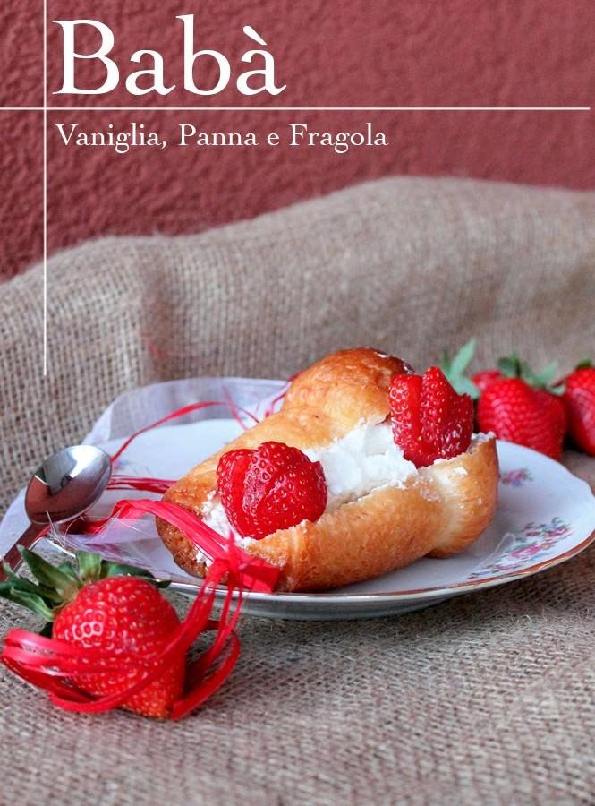 Babà panna, fragola e vaniglia