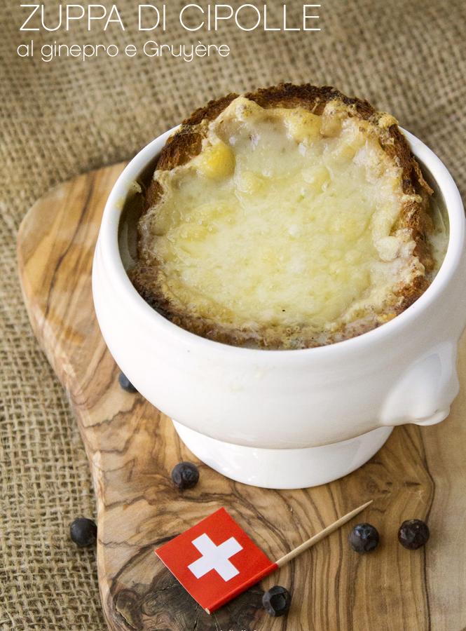 Soupe à l'oignon gratinée – Zuppa di cipolle al ginepro gratinata con Gruyère