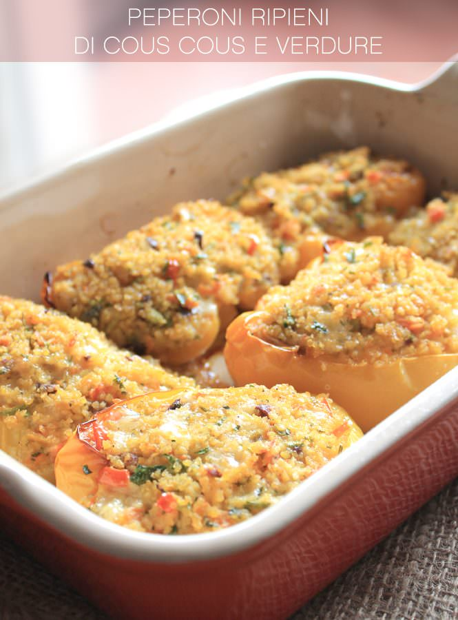 Peperoni ripeini di cous cous e verdure