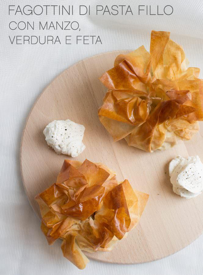 Fagottini croccanti di pasta fillo con manzo, verdura e feta