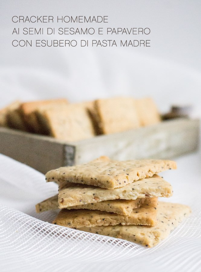 Cracker ai semi di sesamo e papavero (con esubero di pasta madre)