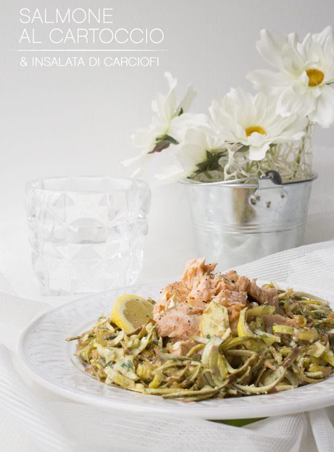Salmone al cartoccio con insalata di carciofi