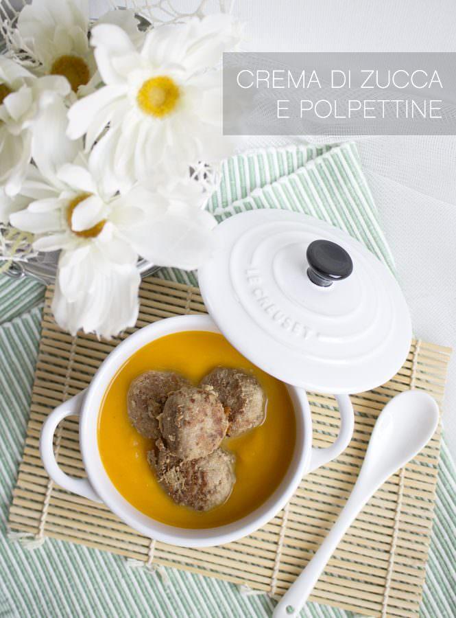 Crema di zucca con polpette di carne speziate