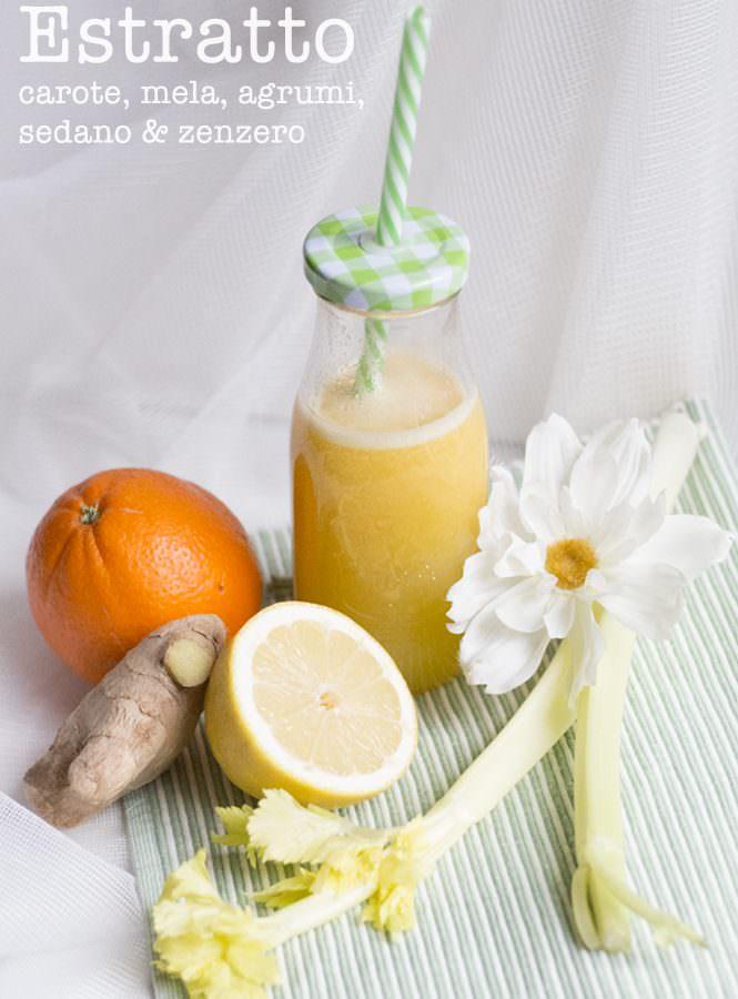 Estratto di carote, mela, agrumi, sedano e zenzero