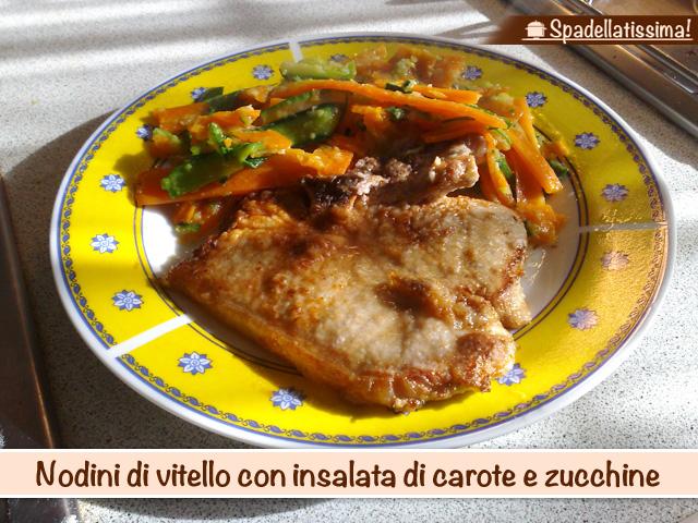 Nodini di vitello con insalata di carote e zucchine