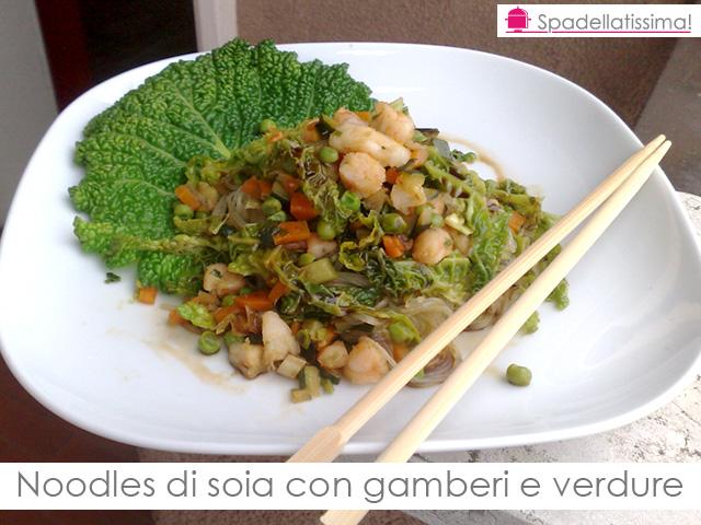 Noodles con gamberi e verdure spadellatissima for Cucinare noodles