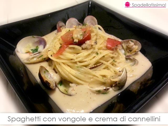 Spaghetti con vongole e crema di cannellini