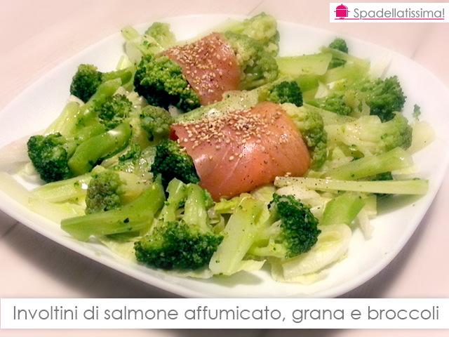 Involtini di salmone affumicato, grana e broccoli