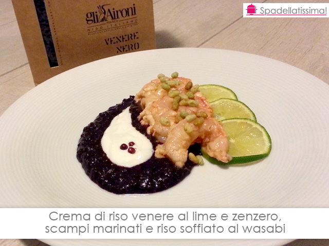 Crema di riso venere al lime e zenzero, scampi marinati e riso soffiato al wasabi
