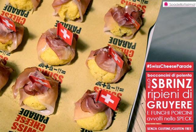 Bocconcini di polenta allo Sbrinz ripieni di Gruyére e funghi porcini, avvolti nello speck (senza glutine)