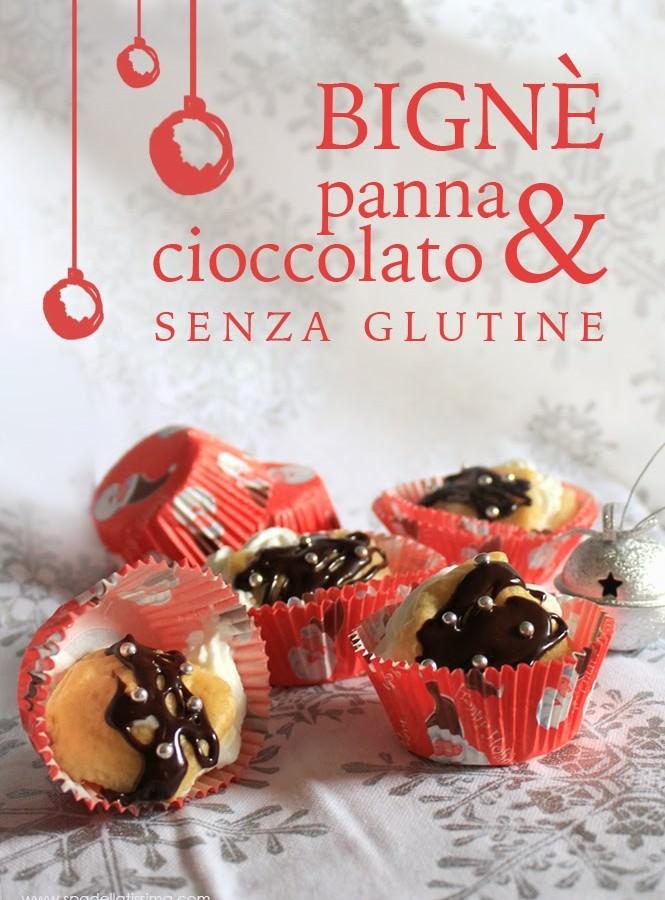 Bignè con panna e cioccolato (senza glutine)