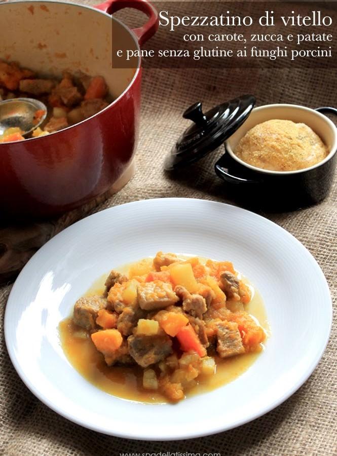 Spezzatino di vitello con carote, zucca e patate accompagnato da pane senza glutine ai funghi porcini
