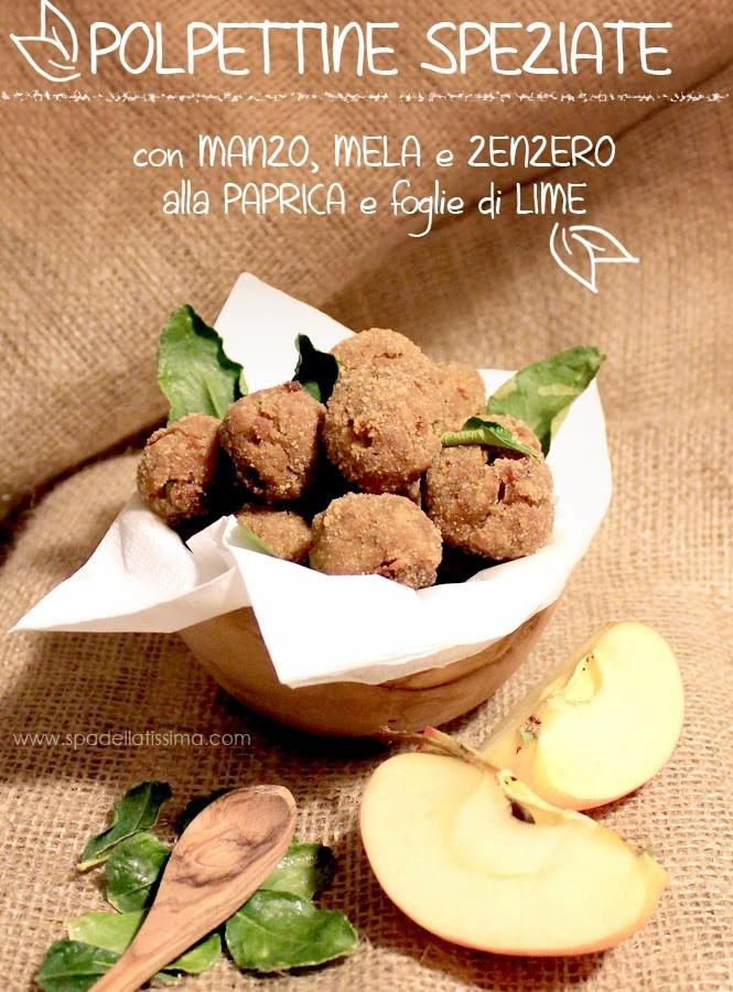 Polpettine di manzo, mela e zenzero con paprica e foglie di lime