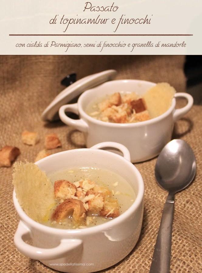 Passato di topinambur e finocchi con cialda di parmigiano, semi di finocchio e granella di mandorle