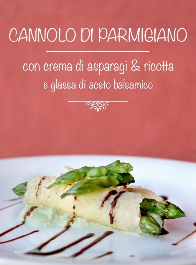 Cannolo di Parmigiano con crema di asparagi e ricotta e glassa di aceto balsamico