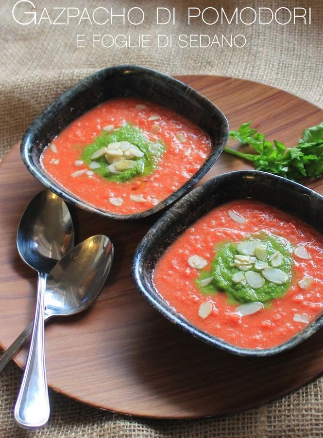 Gazpacho di pomodori e foglie di sedano
