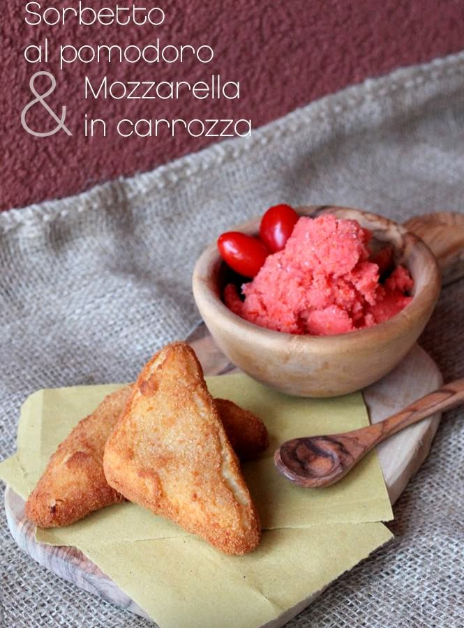 Sorbetto salato al pomodoro e mozzarella in carrozza (senza glutine)
