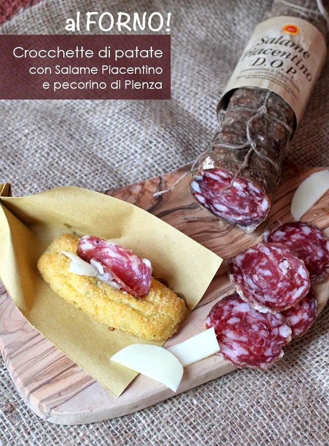Crocchette di patate al forno con Salame Piacentino DOP e pecorino di Pienza