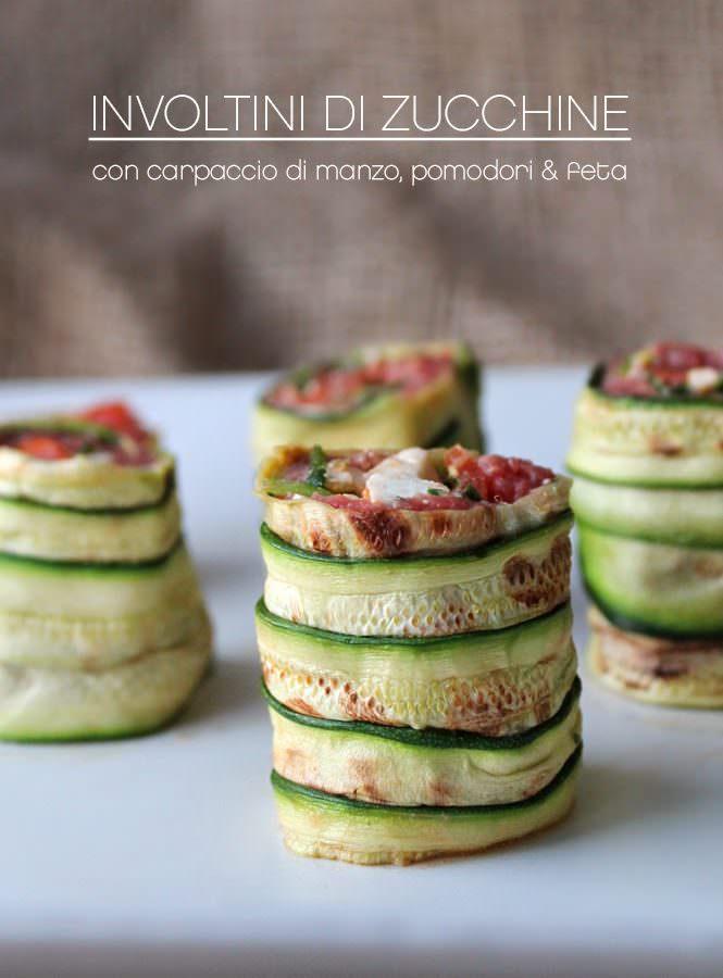 Involtini di zucchine con carpaccio di manzo, pomodori e feta