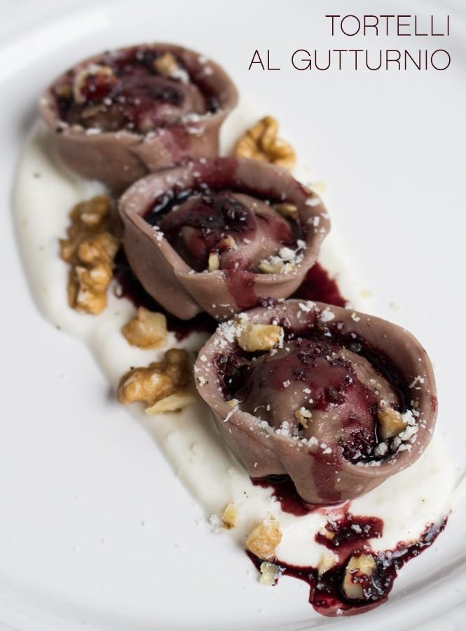 Tortelli al Gutturnio ripieni di fegato, con crema al Parmigiano Reggiano e noci